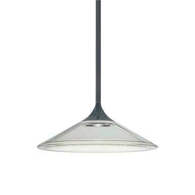 Luminaire - Suspensions - Suspension Orsa LED / Ø 21 cm - Verre - Artemide - Ø 21 cm / Transparent & noir - Métal laqué, Méthacrylate, Verre moulé