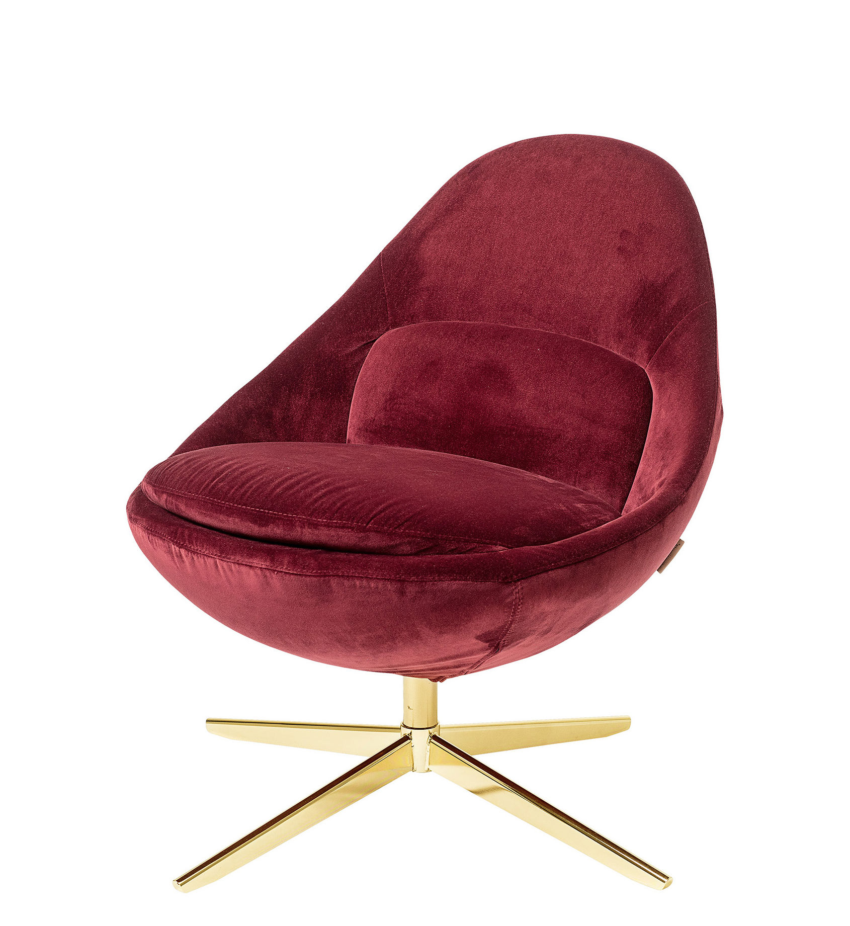 Furniture - Armchairs - Dawn Swivel armchair - / Padded - Velour by Bloomingville - Red / Gold - High resilience foam, Metal, Velvet