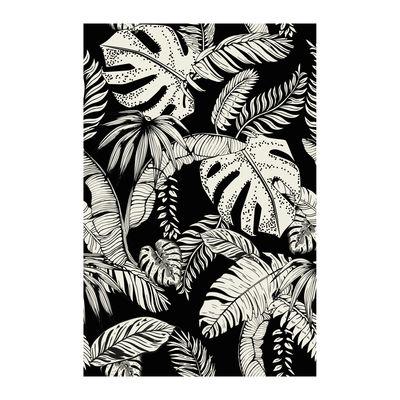 Image of Tappeto Botany - / 198 x 139 cm - Vinile di Beaumont - Bianco,Nero - Materiale plastico