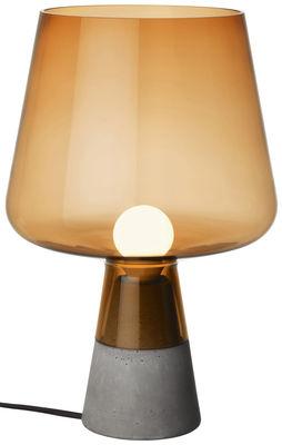 Leuchten - Tischleuchten - Leimu Tischleuchte / Ø 25 cm x H 38 cm - Iittala - Orange - Beton, geblasenes Glas
