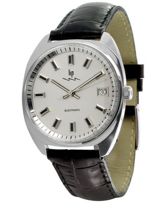 Accessoires - Uhren - GDG Electronic Uhr Neuauflage des Originals aus dem Jahr 1952 - Lip - Chrom-glänzend / Armband schwarzes Leder - Leder
