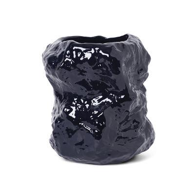 Interni - Vasi - Vaso Tuck - / Ø 34 x H 40 cm - Gres di Ferm Living - Blu - Cire de soja, Grès vitrifié