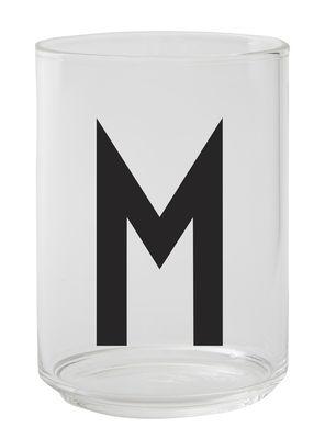 Verre Arne Jacobsen / Verre borosilicaté - Lettre M - Design Letters transparent en verre