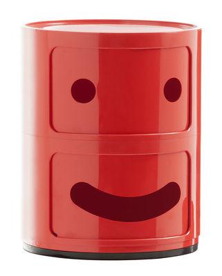 Möbel - Möbel für Kinder - Componibili Smile N°1 Ablage / 2 Schubladen - H 40 cm - Kartell - N° 1 / rot - ABS