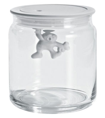 Tableware - Boxes and jars - Gianni a little man holding on tight Airtight jar - 70 cl by A di Alessi - White / 70 cl - Glass, Thermoplastic resin