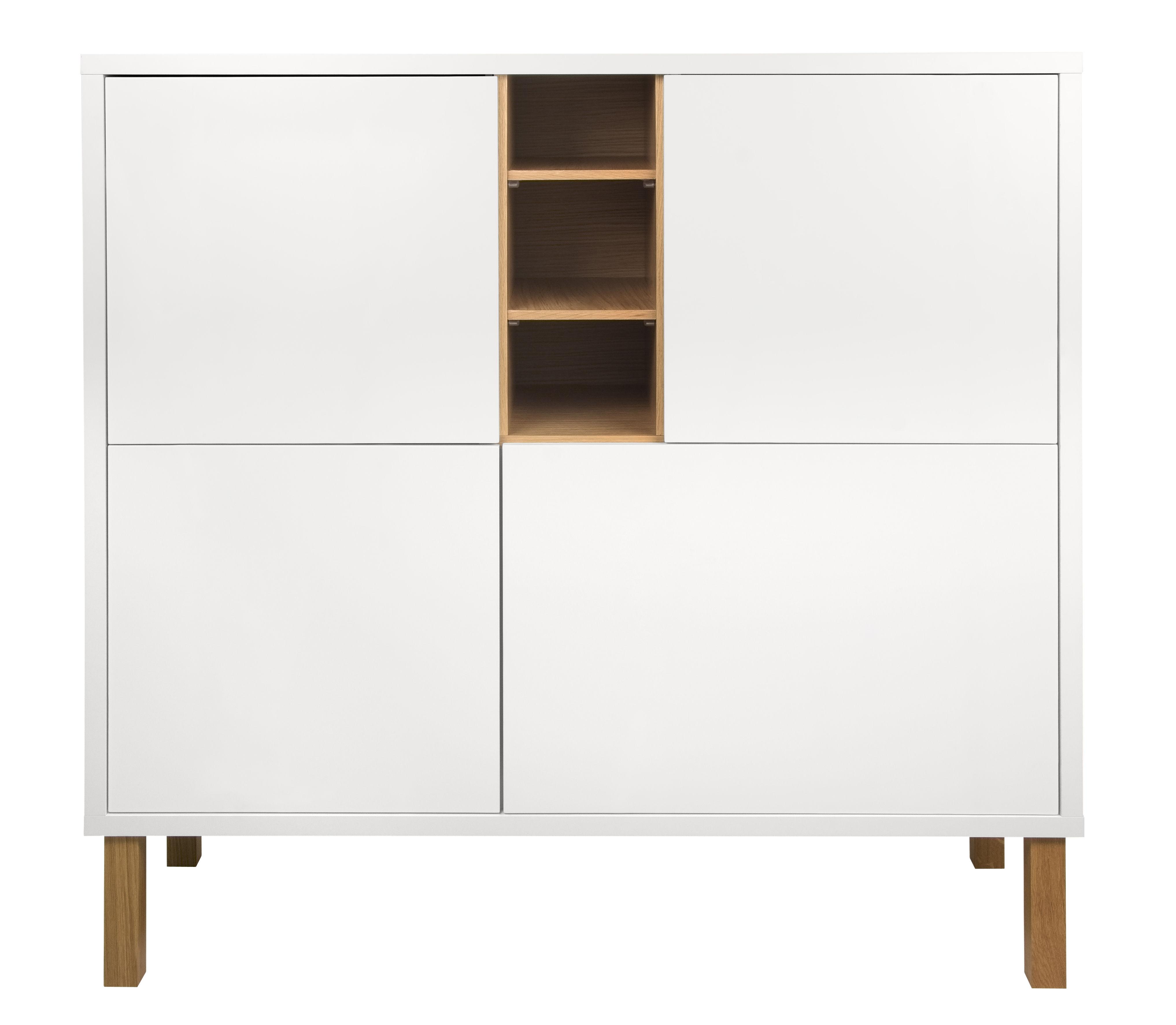 Möbel - Kommode und Anrichte - Cove Anrichte / hoch - L 128 cm x H 127 cm - POP UP HOME - Weiß / Eiche - massive Eiche, Placage chêne, Spanplatte, bemalt