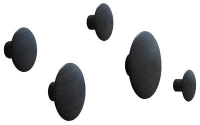 Arredamento - Appendiabiti  - Appendiabiti The dots - Set di 5 di Muuto - Nero - Frassino tinto