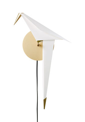 Applique avec prise Perch Light Small / LED - Branchement secteur - Moooi blanc translucide,laiton en métal