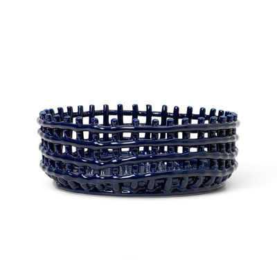 Tableware - Fruit Bowls & Centrepieces - Ceramic Basket - / Ø 29 x H 10 cm - Hand-made by Ferm Living - Blue - Glazed ceramic