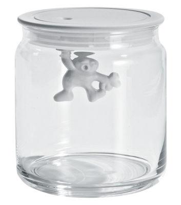 Bocal hermétique Gianni a little man holding on tight / 70 cl - A di Alessi blanc en verre/matière plastique