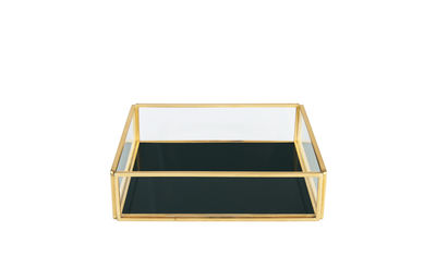 Déco - Boîtes déco - Boîte Treasure Square / Verre & métal - & klevering - Carré / Vert - Métal doré, Verre