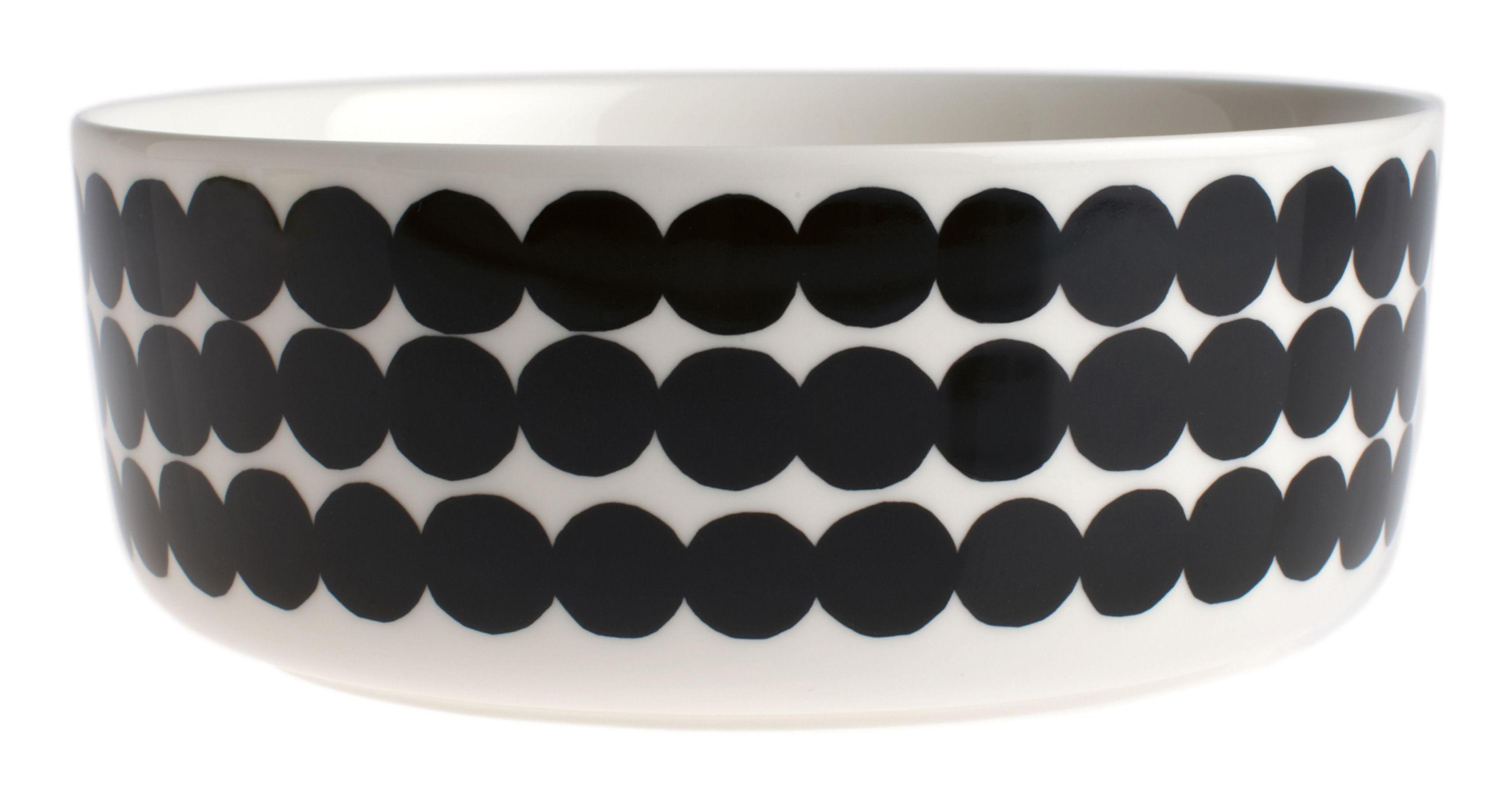 Arts de la table - Saladiers, coupes et bols - Bol Siirtolapuutarha / Ø 20 cm - Marimekko - Siirtolapuutarha / Noir & blanc - Porcelaine émaillée