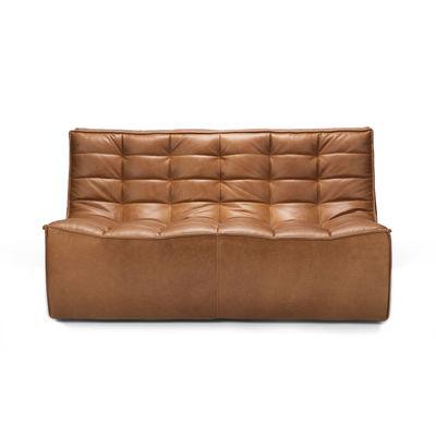 Mobilier - Canapés - Canapé droit N701 / L 140 cm - Cuir - Ethnicraft - Cuir Cognac - Bois, Cuir aniline, Mousse