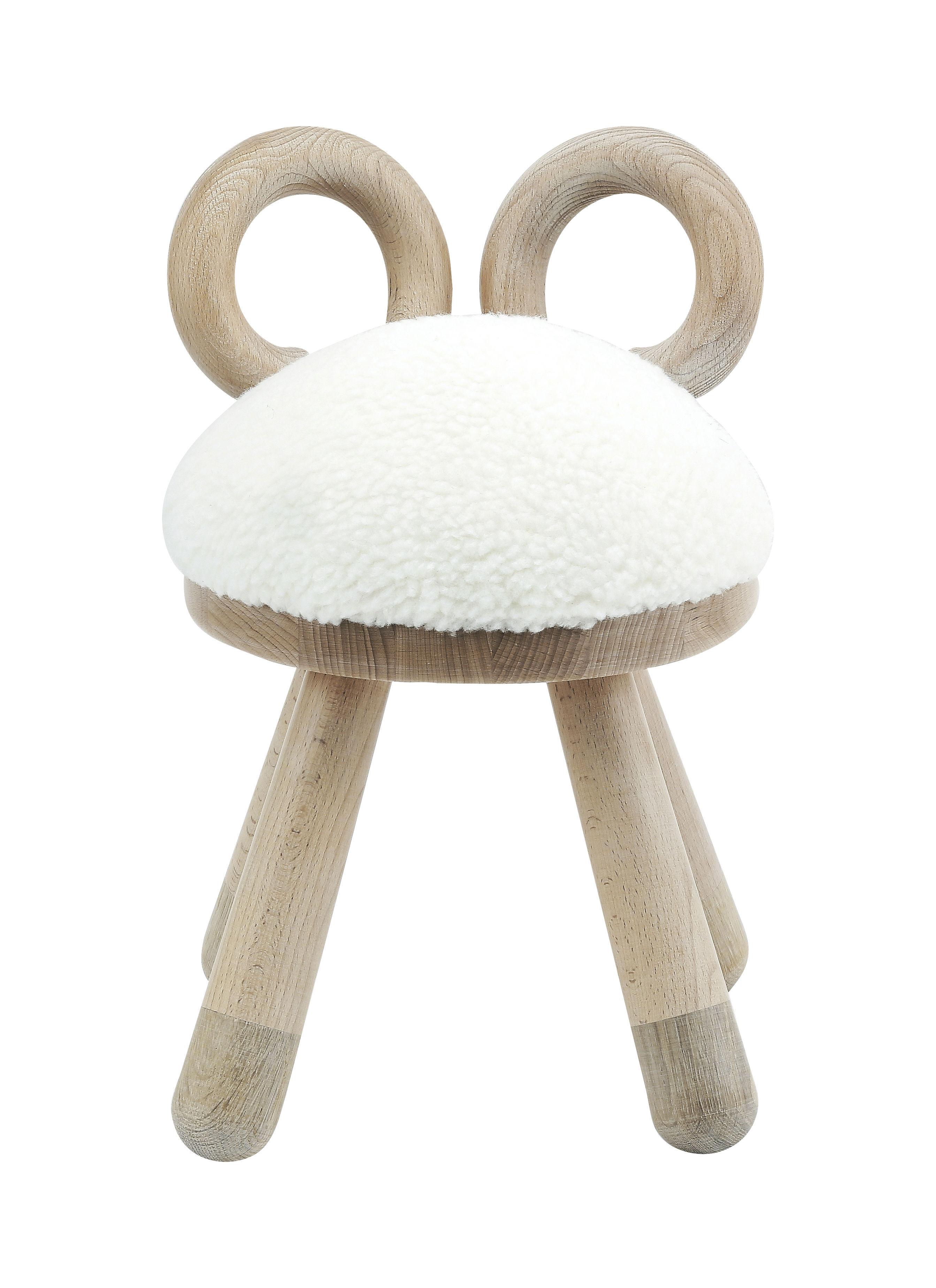 Mobilier - Mobilier Kids - Chaise enfant Sheep / H 39 cm - EO - Mouton - Chêne massif, Fourrure synthétique, Hêtre massif, Mousse