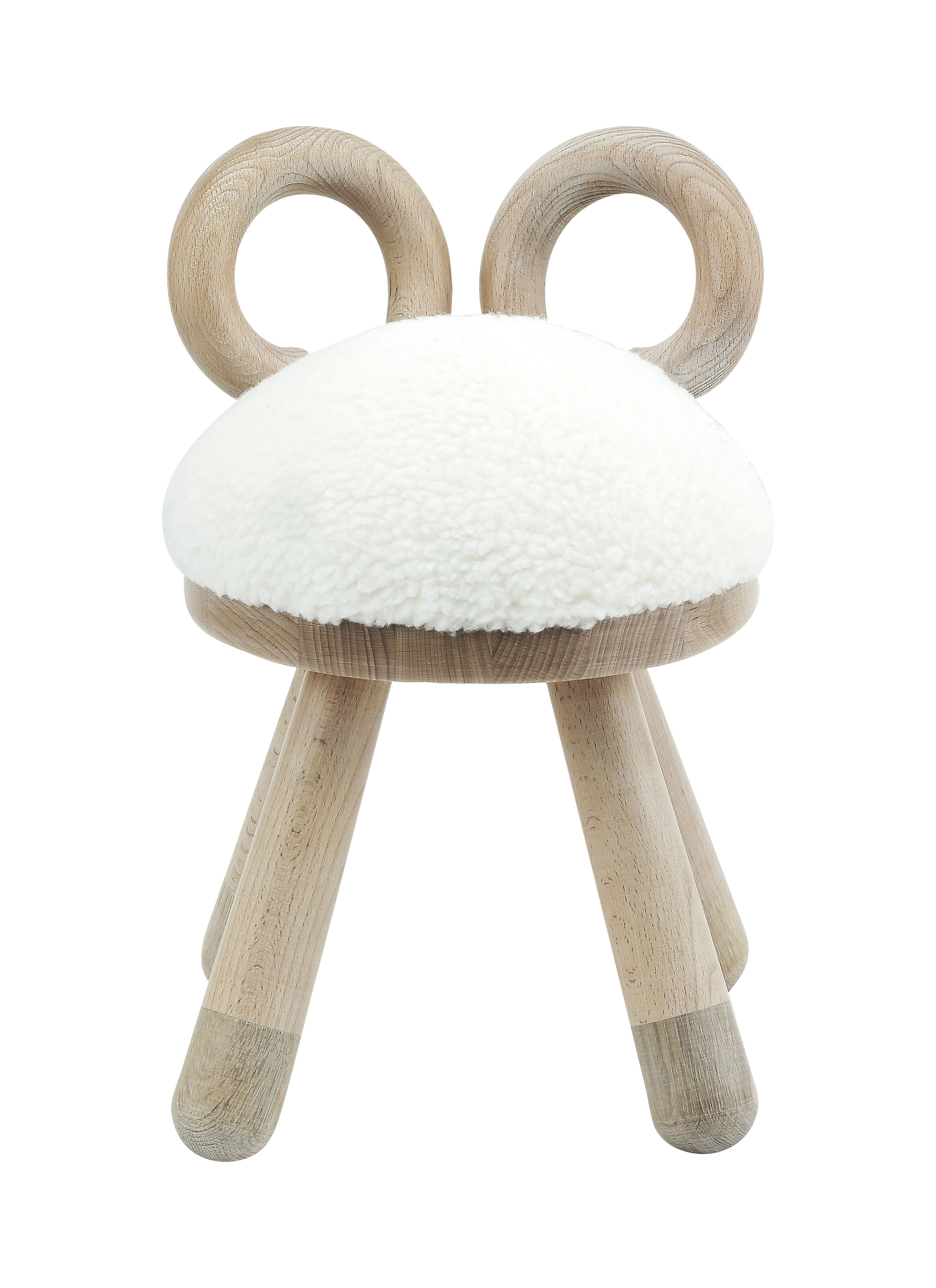 Furniture - Kids Furniture - Sheep Children's chair - H 39 cm by Elements Optimal - Natural wood / White - Foam, Natural beechwood, Solid oak, Synthetic fur