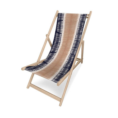 Outdoor - Sun Loungers & Hammocks - Hydra Deckchair - / Without armrests by PÔDEVACHE - Tie-dye / Coral & blue - Eucalyptus wood, Polyester cloth