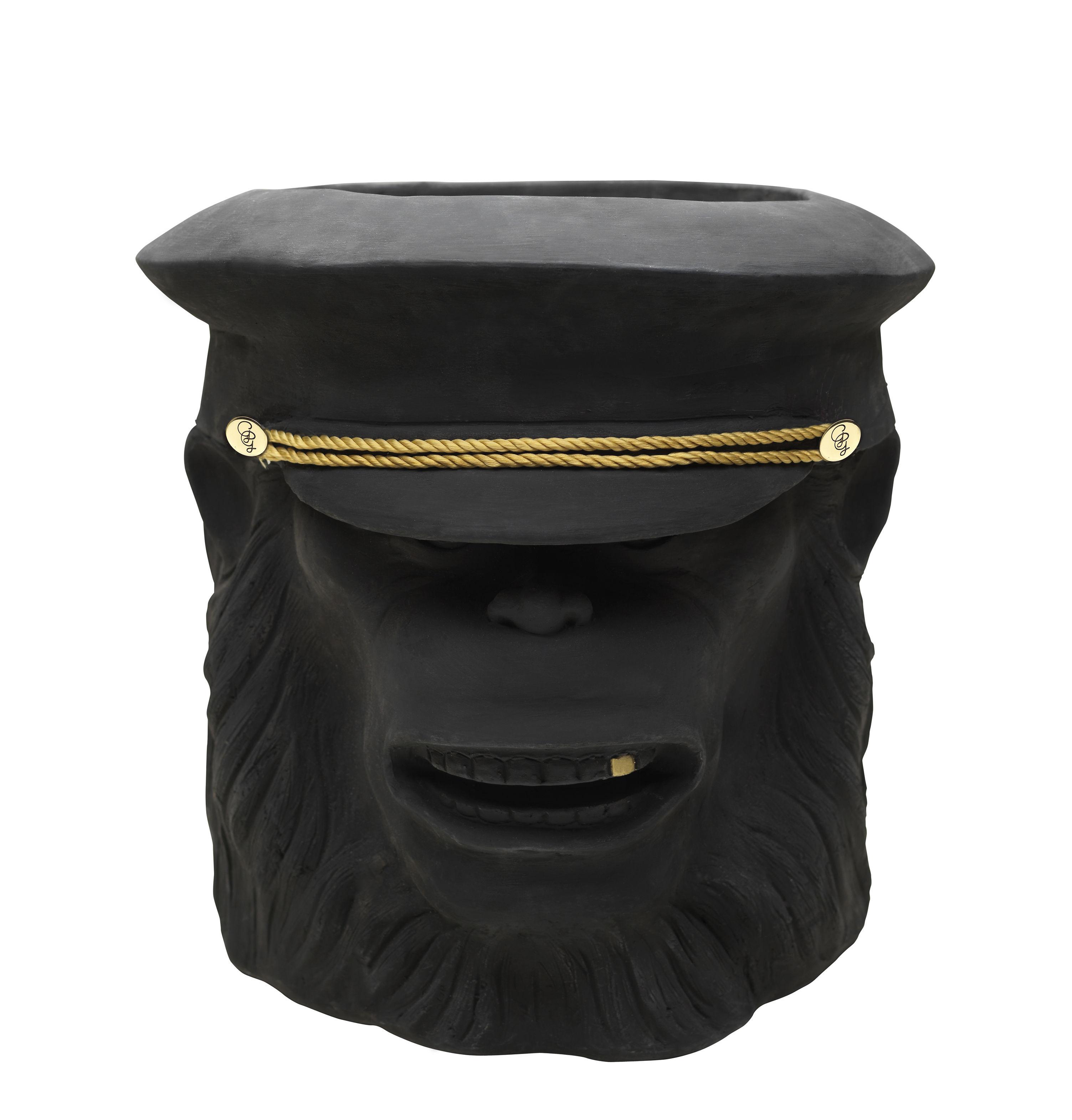 Outdoor - Pots & Plants - Monkey Face Flowerpot - Ceramic - H 40 cm by Garden Glory - Monkey / Black - Brass, Painted terracotta
