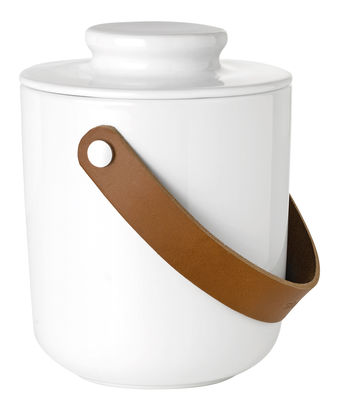 Tableware - Kitchen Accessories - Glacier Ice bucket - Stoneware & leather by Stelton - White / Brown leather - Enamelled sandstone, Leather