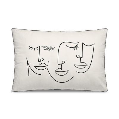 Dekoration - Kissen - Sirena Kissen / 40 x 60 cm - Velours - PÔDEVACHE - Gesichter & Blätter / Weiß & schwarz - Polyesterfaser, Velours