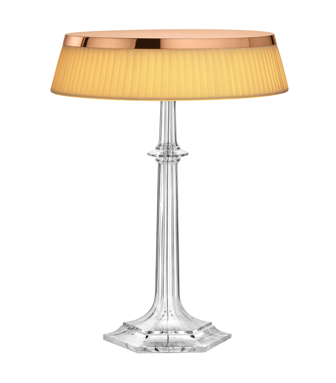 Luminaire - Lampes de table - Lampe de table Bon Jour Versailles Large / LED - H 42 cm - Flos - Cuivre / Tissu ivoire - PMMA, Tissu plissé