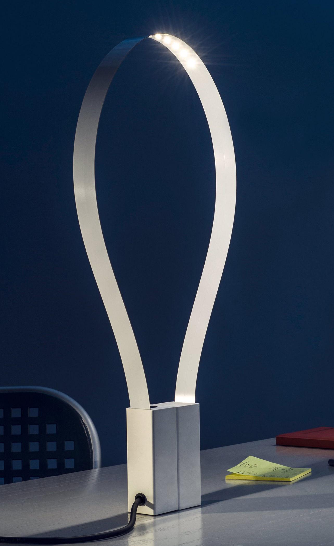 Luminaire - Lampes de table - Lampe de table Fluida / Bande LED flexible - Martinelli Luce - Blanc - Métal