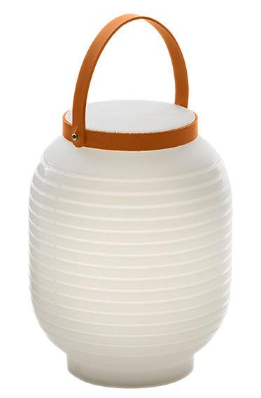Leuchten - Tischleuchten - Honey Lampe ohne Kabel / wiederaufladbar - Serralunga - Weiß / Griff beiges Leder - Leder, Polyäthylen