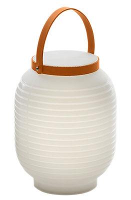 Luminaire - Lampes de table - Lampe sans fil Honey / Rechargeable - Serralunga - Blanc / Poignée cuir beige - Cuir, Polyéthylène