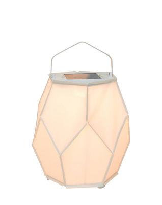 Lampe solaire La Lampe Couture Medium / Hybride & connectée - Ø 42 x H 55 cm - Maiori blanc,aluminium en tissu
