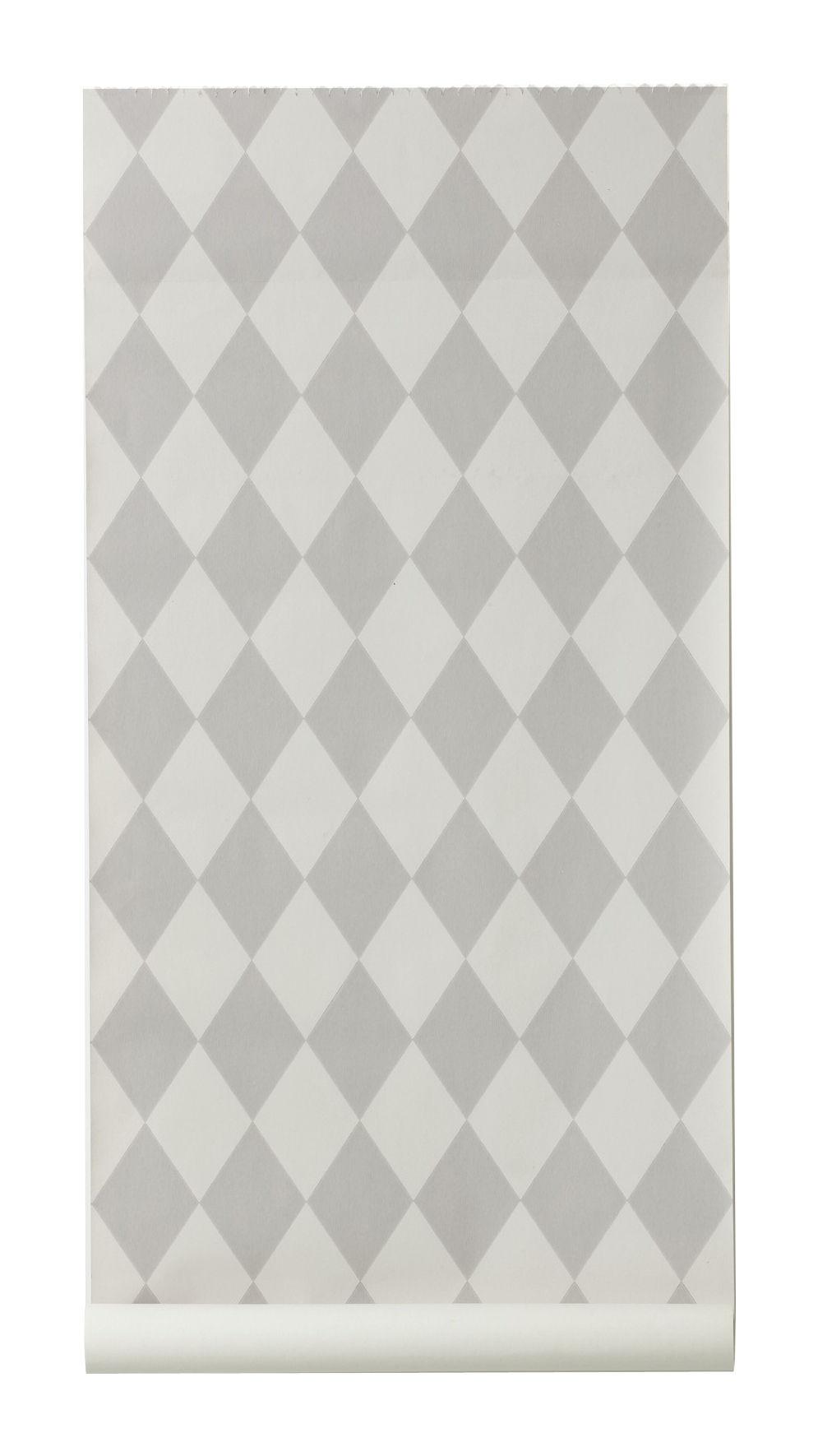 Déco - Stickers, papiers peints & posters - Papier peint Harlequin / 1 rouleau - Larg 53 cm - Ferm Living - Gris & gris clair - Toile intissée