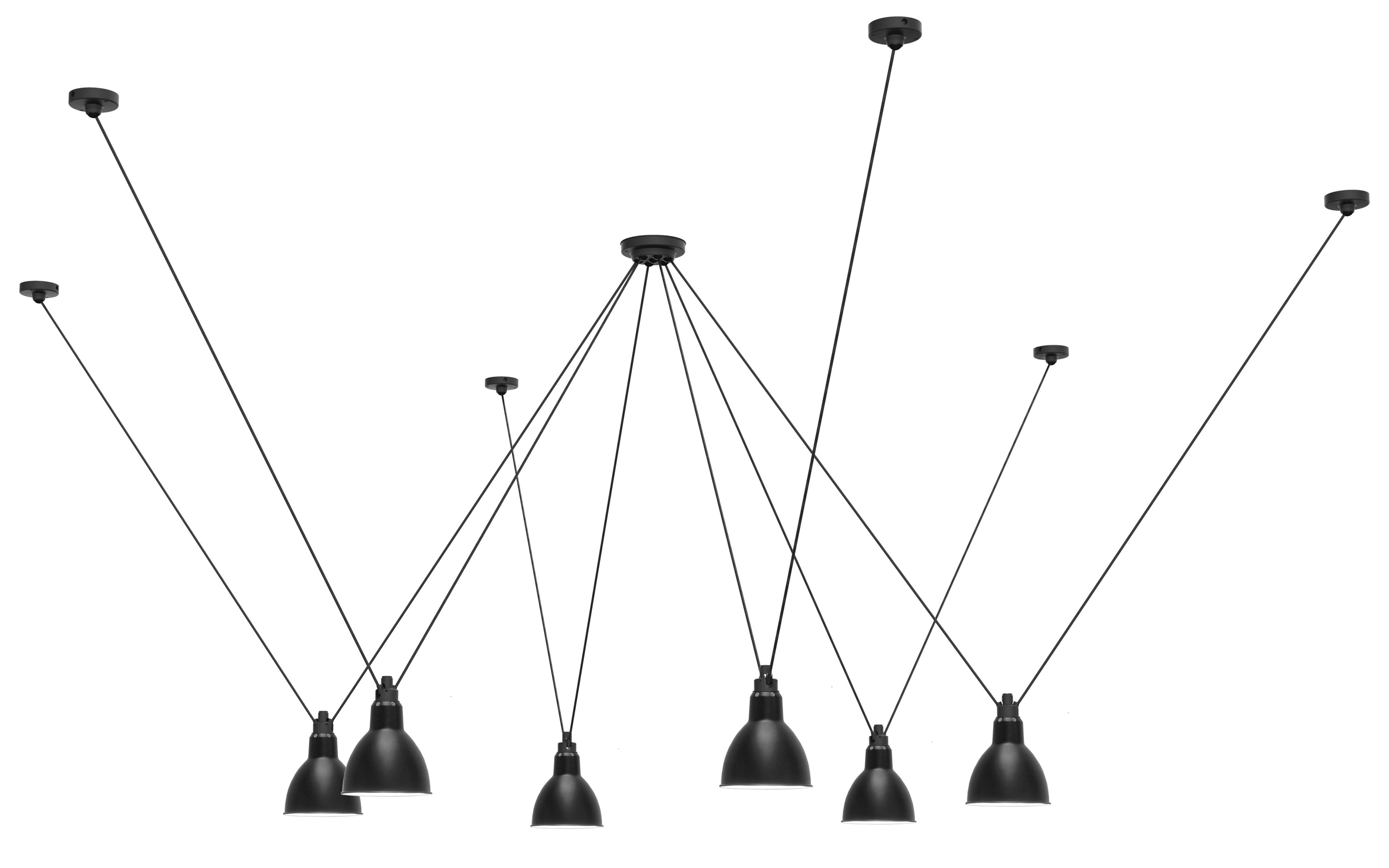 Lighting - Pendant Lighting - Acrobate N°326 Pendant - / Lampes Gras - 6 metal round shades by DCW éditions - Black - Painted steel