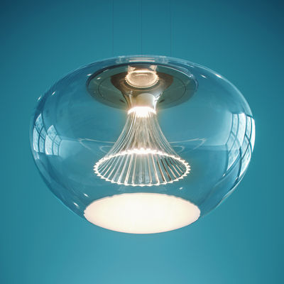 Lighting - Pendant Lighting - Ipno Glass Pendant - / LED - Ø 45 cm by Artemide - Transparent / White disk - Blown glass, PMMA