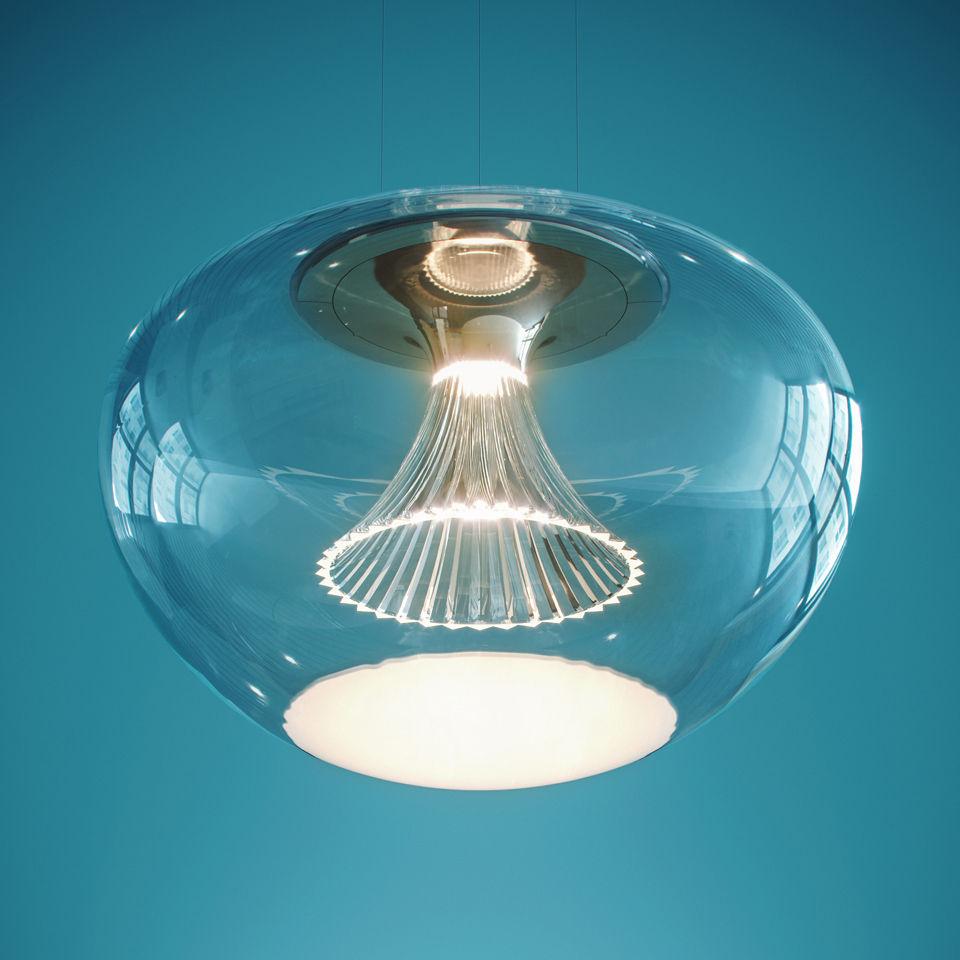 Leuchten - Pendelleuchten - Ipno Glass Pendelleuchte / LED - Ø 45 cm - Artemide - Transparent / Scheibe weiß - geblasenes Glas, PMMA