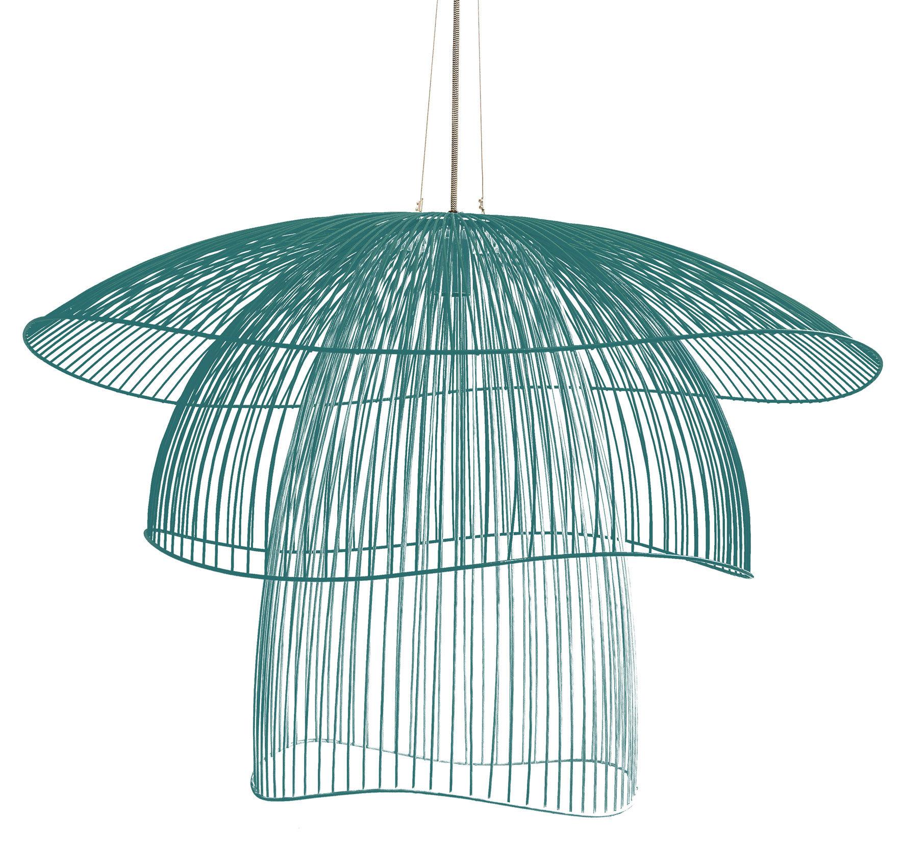 Leuchten - Pendelleuchten - Papillon Large Pendelleuchte / Ø 100 cm - Forestier - Graublau - thermolackierter Stahl