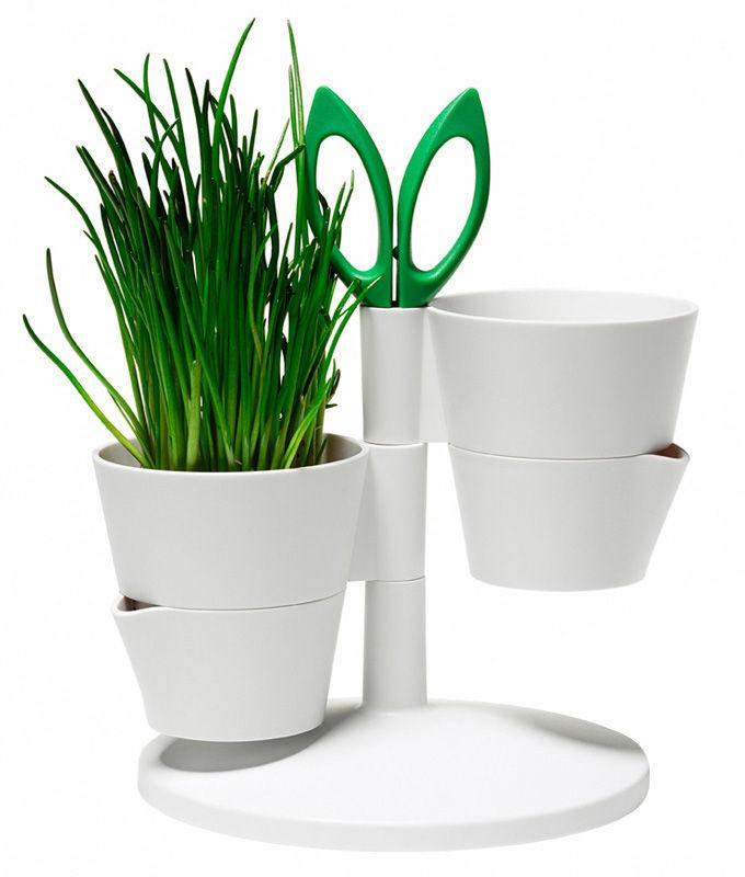 Cuisine - Pratique & malin - Pot de fleurs Herb Stand / Pour herbes aromatiques - Avec ciseaux - Normann Copenhagen - Blanc - Acier inoxydable, Matière plastique