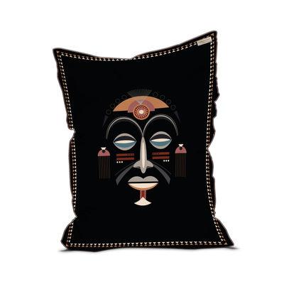 Furniture - Poufs & Floor Cushions - Mask Pouf - / Velvet - 115 x 145 cm by PÔDEVACHE - Black / Multicoloured - EPS balls, Fabric, Velvet