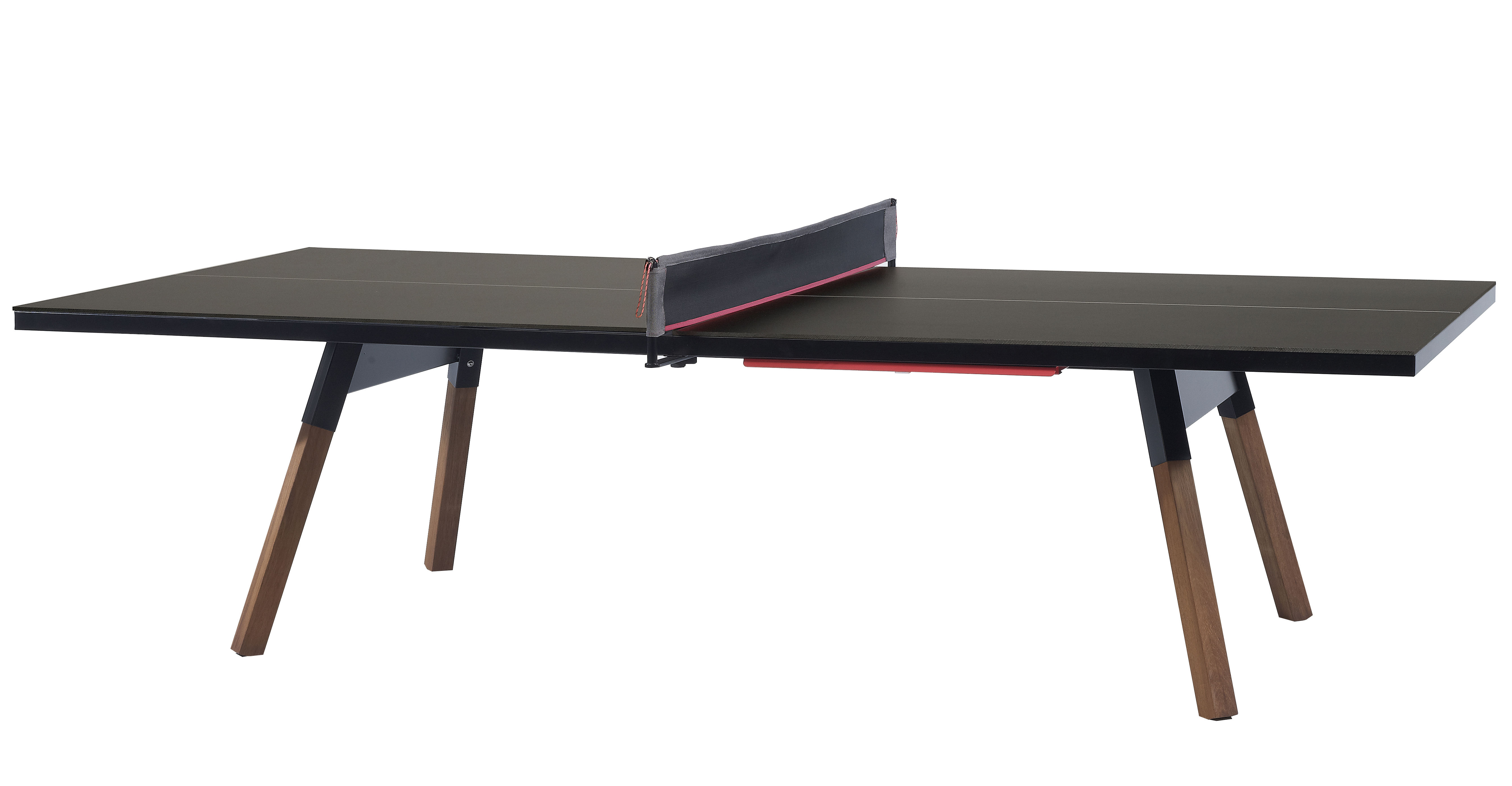 Outdoor - Garden Tables - Table - L 274 cm /  Ping pong & dining table by RS BARCELONA - Black / Wood legs - HPL, Iroko wood, Steel