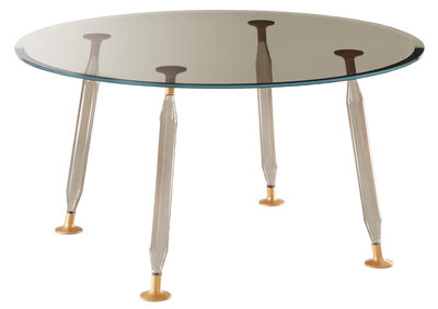 Furniture - Dining Tables - Lady Hio Round table - / Glass & metal - Ø 130 cm by Glas Italia - Smoked grey / Copper - Aluminium, Blown Borosilicate glass, Extra-clear tempered glass