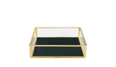 Interni - Scatole déco - Scatola Treasure Square - / Vetro e metallo di & klevering - Quadrato / Verde - Métal doré, Vetro