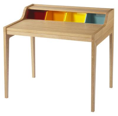 Arredamento - Mobili da ufficio - Scrivania Remix di The Hansen Family - Quercia / Compartimenti multicolore - Rovere massello