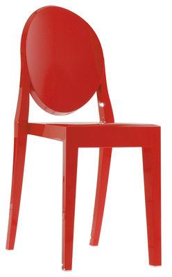 Arredamento - Sedie  - Sedia impilabile Victoria Ghost - Versione opaca di Kartell - Rosso opaco - policarbonato