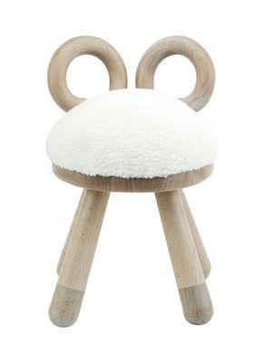 Arredamento - Mobili per bambini - Sedia bambino Sheep / H 39 cm - EO - Legno naturale / Bianco - Espanso, Faggio massello, Pelliccia sintetica, Rovere massello