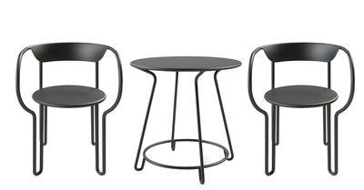 Outdoor - Tables de jardin - Set table & assises Huggy / Table Ø 75 cm + 2 fauteuils - Maiori - Carbone - Aluminium peint