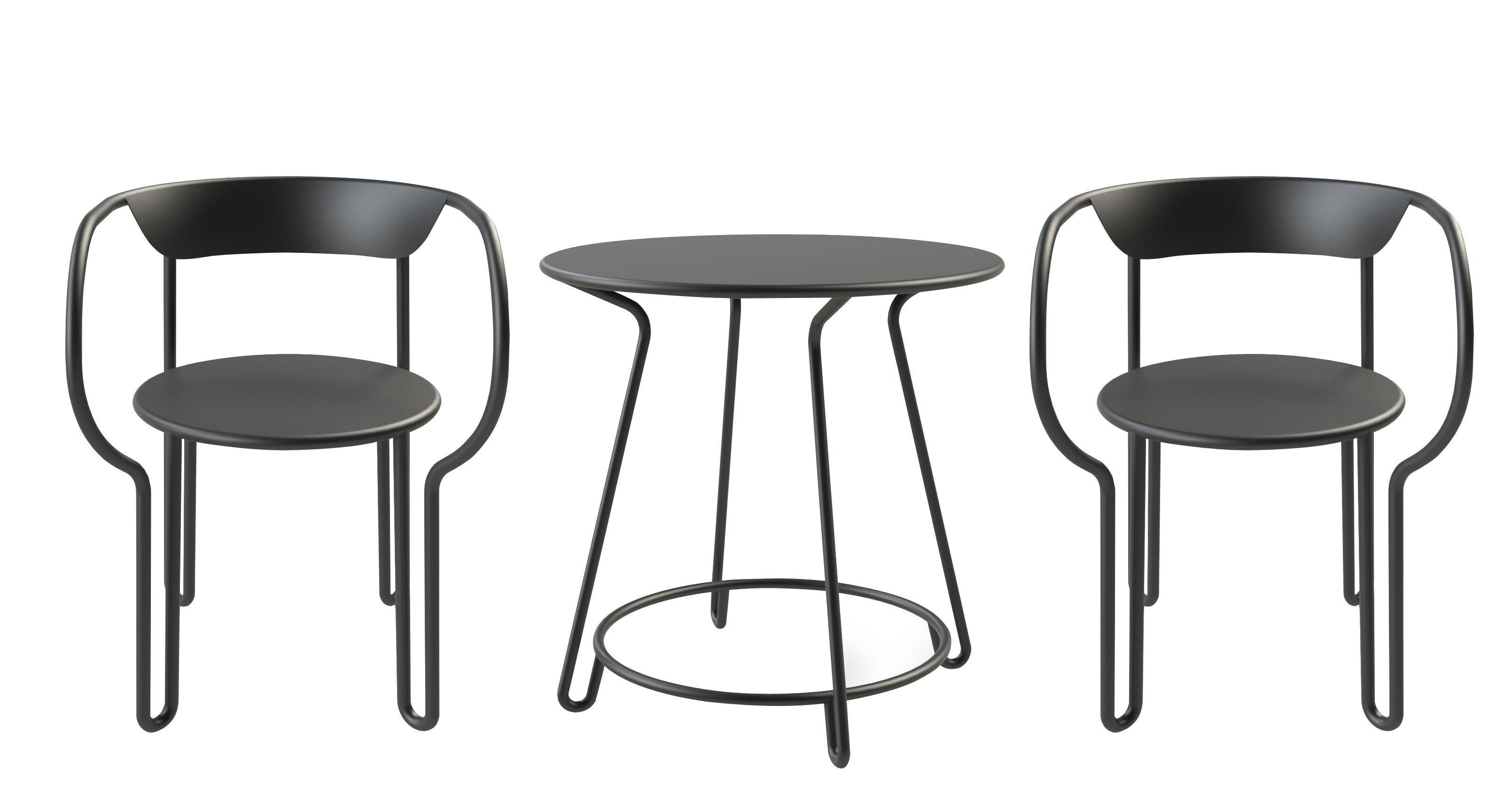 Outdoor - Tavoli  - Set tavolo & sedie Huggy - / Tavolo Ø 75 cm + 2 poltrone di Maiori - Carbone - alluminio verniciato