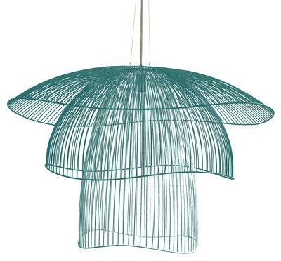 Illuminazione - Lampadari - Sospensione Papillon Large - / Ø 100 cm di Forestier - Blu grigio - Acciaio termolaccato