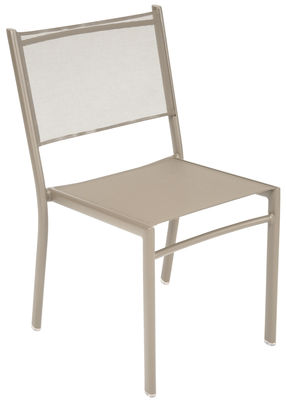 Furniture - Chairs - Costa Stacking chair - Fabric seat by Fermob - Nutmeg - Aluminium, Cloth