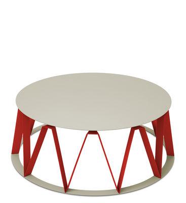 Table basse Auguste / Ø 74 x H 26 cm - Métal - Presse citron rouge,mastic en métal