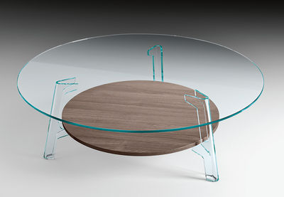Table basse Flute / Ø 120 cm - FIAM transparent,chêne en verre