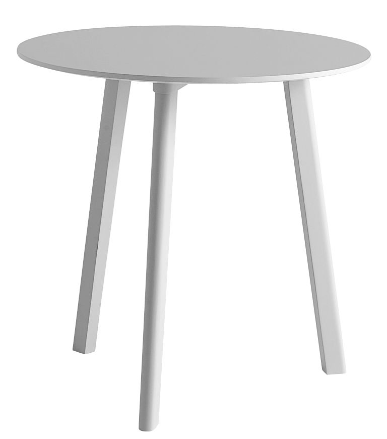 Furniture - Dining Tables - Copenhague CPH Deux 220 Table - Ø 75 cm by Hay - Light grey - Laminate, Painted beech, Stratified