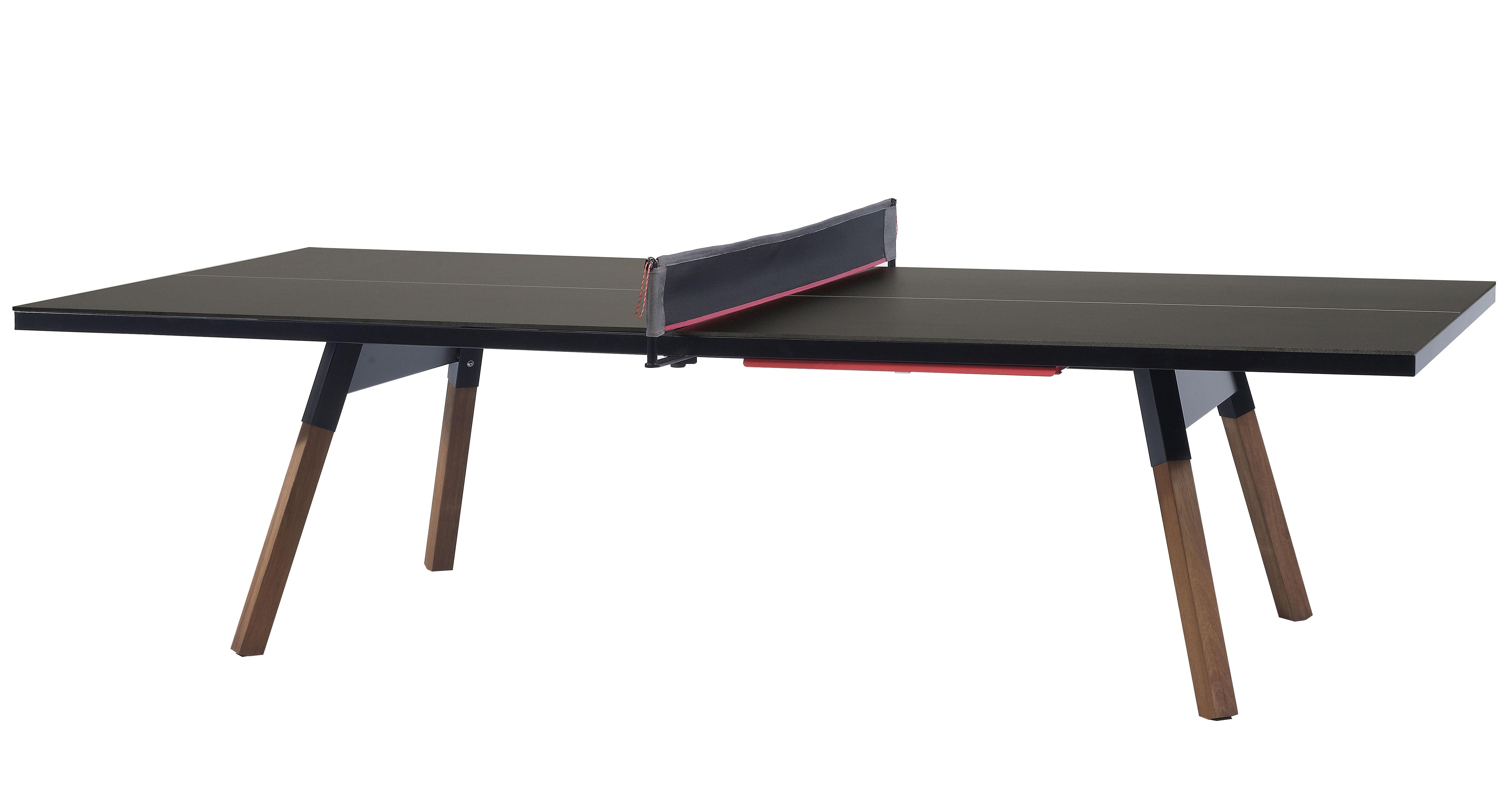 Outdoor - Tables de jardin - Table rectangulaire Y&M / L 274 cm - Table ping pong & repas - RS BARCELONA - Noir / Pieds bois - Acier, Bois Iroko, HPL