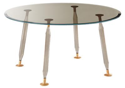 Mobilier - Tables - Table ronde Lady Hio / Verre & métal - Ø 130 cm - Glas Italia - Gris fumé / Cuivre - Aluminium, Verre borosilicate soufflé, Verre extra-clair trempé